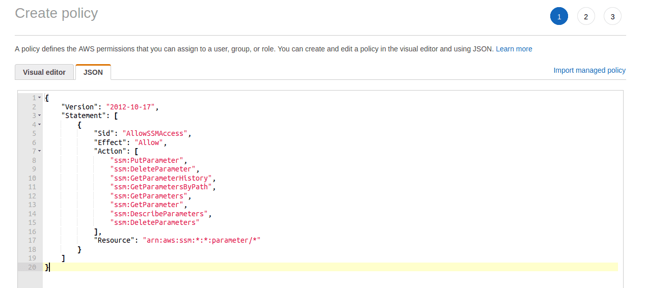 image shows AWS IAM Role Creation Inline Policy in  JSON data format