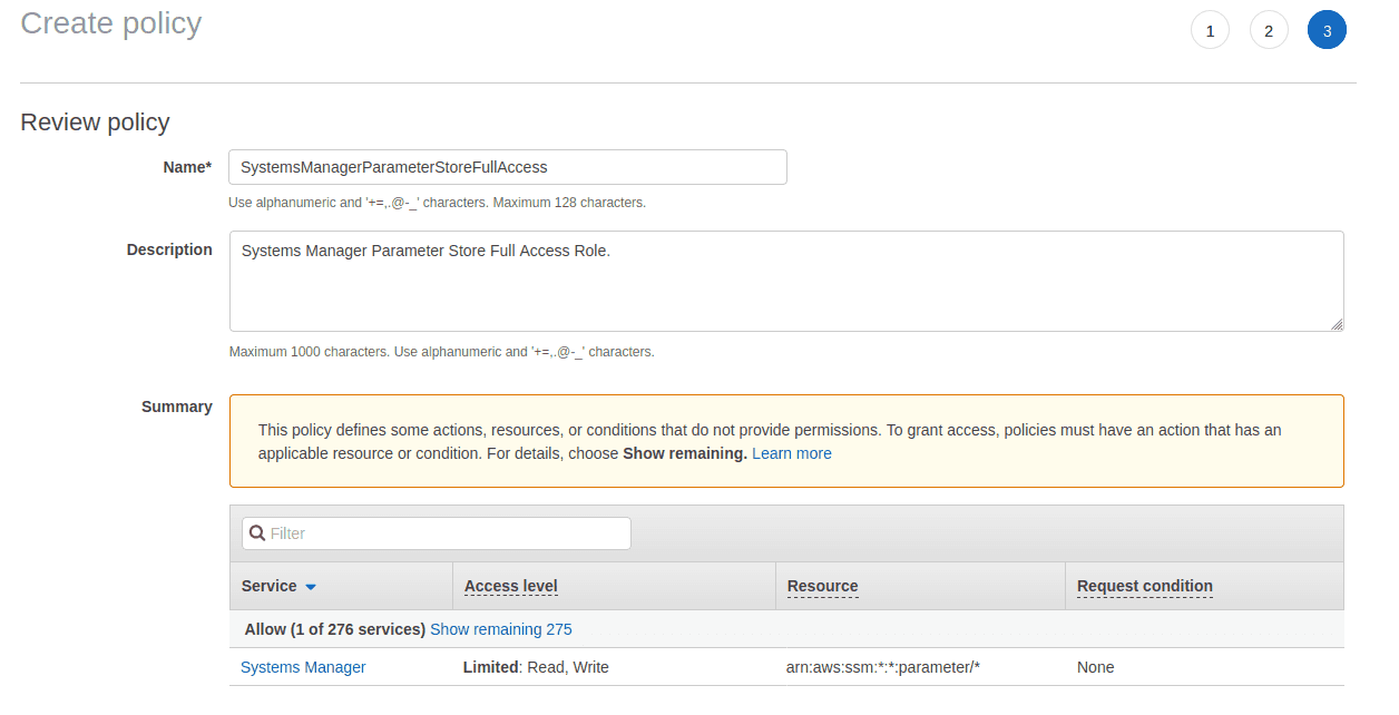 image shows the AWS IAM Role Creation Inline Policy review page