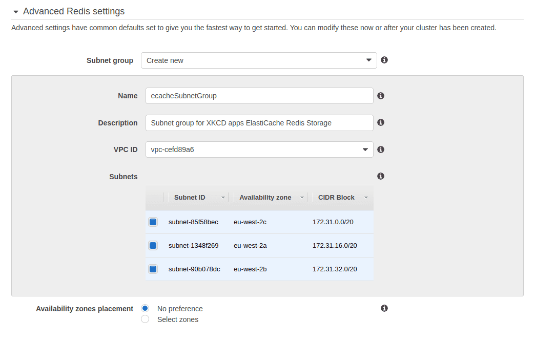 image shows  Advanced Redis Settings for ElastiCache