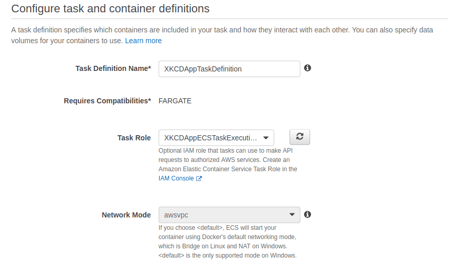 image shows task configuration and container definitions