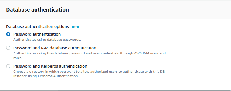 Database Authentication: Password authentication