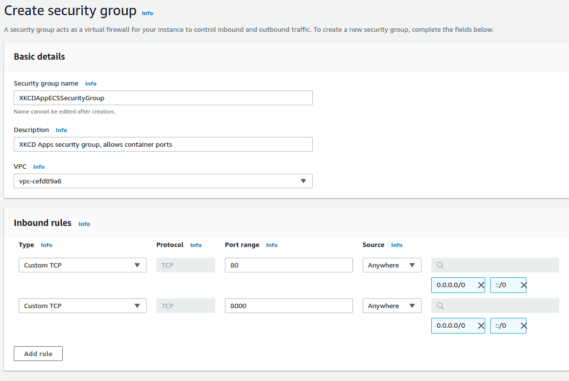 image shows Creating ECS security group as named  XKCDAppECSSecurityGroup