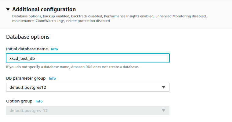 Image shows Additional Configuration on AWS Console